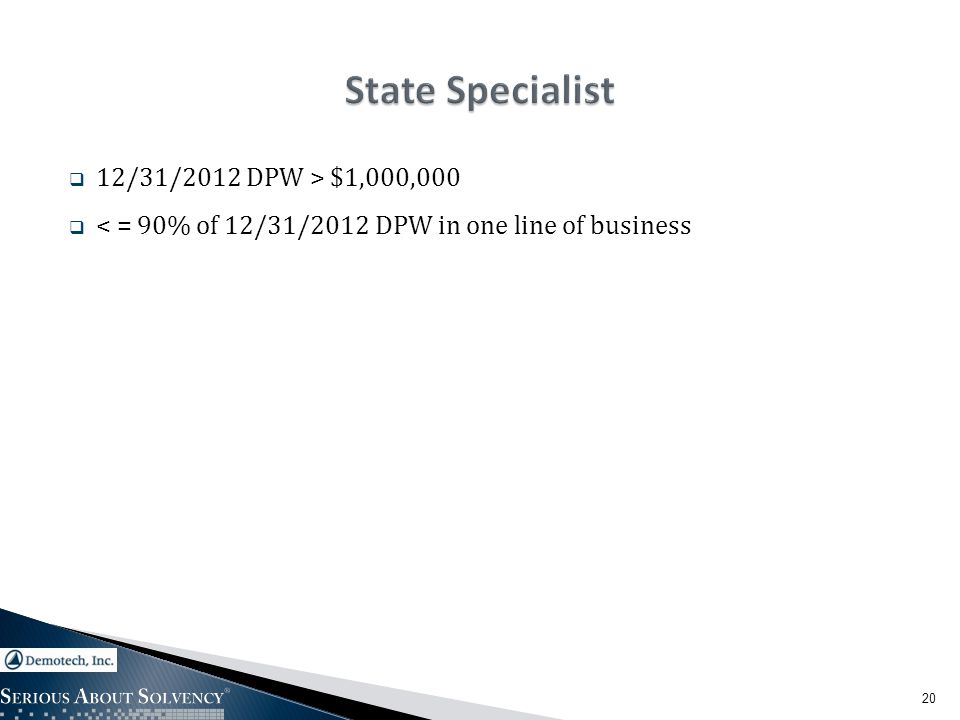  12/31/2012 DPW > $1,000,000  < = 90% of 12/31/2012 DPW in one line of business 20