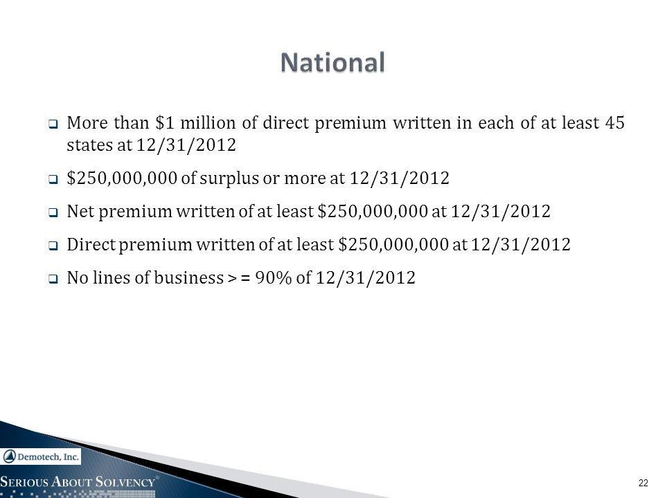  More than $1 million of direct premium written in each of at least 45 states at 12/31/2012  $250,000,000 of surplus or more at 12/31/2012  Net premium written of at least $250,000,000 at 12/31/2012  Direct premium written of at least $250,000,000 at 12/31/2012  No lines of business > = 90% of 12/31/2012 22
