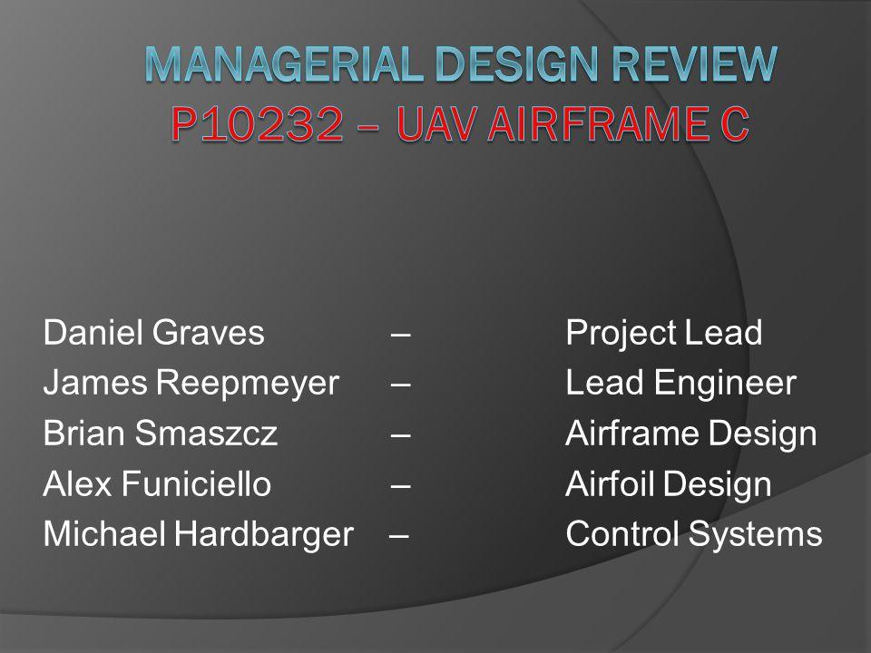 Daniel Graves –Project Lead James Reepmeyer – Lead Engineer Brian Smaszcz– Airframe Design Alex Funiciello – Airfoil Design Michael Hardbarger – Control Systems