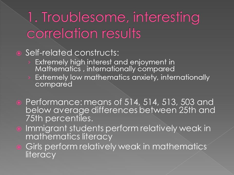  Self-related constructs: › Extremely high interest and enjoyment in Mathematics, internationally compared › Extremely low mathematics anxiety, internationally compared  Performance: means of 514, 514, 513, 503 and below average differences between 25th and 75th percentiles.