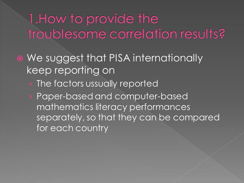  We suggest that PISA internationally keep reporting on › The factors ussually reported › Paper-based and computer-based mathematics literacy performances separately, so that they can be compared for each country