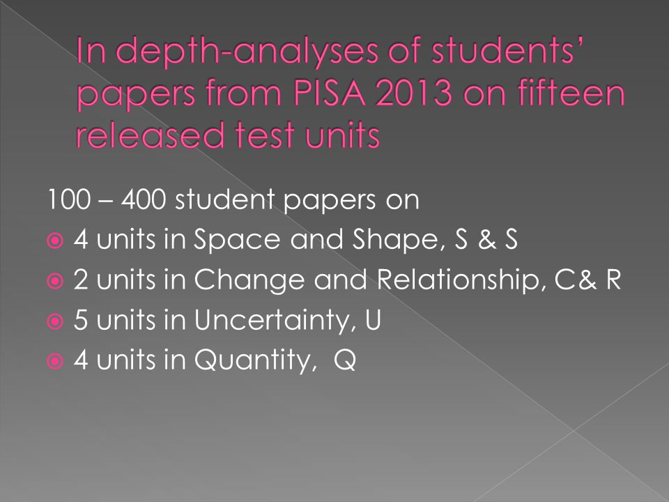 100 – 400 student papers on  4 units in Space and Shape, S & S  2 units in Change and Relationship, C& R  5 units in Uncertainty, U  4 units in Qu