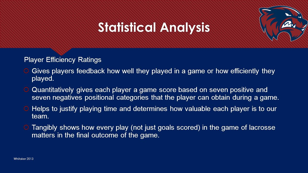 Statistical Analysis Whitaker 2013 Player Efficiency Ratings  Gives players feedback how well they played in a game or how efficiently they played. 