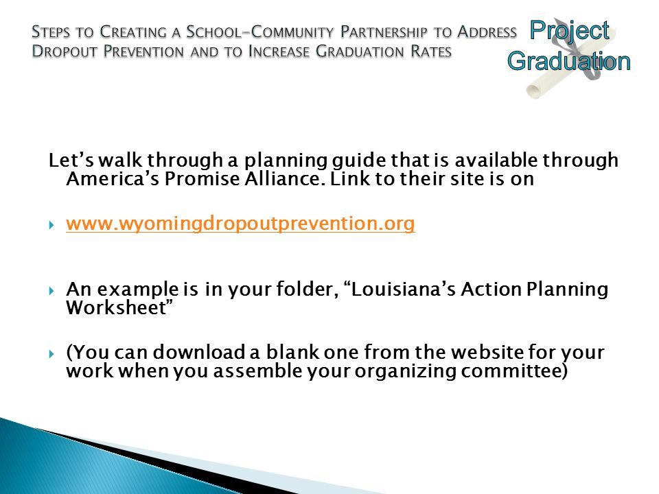 Let's walk through a planning guide that is available through America's Promise Alliance.