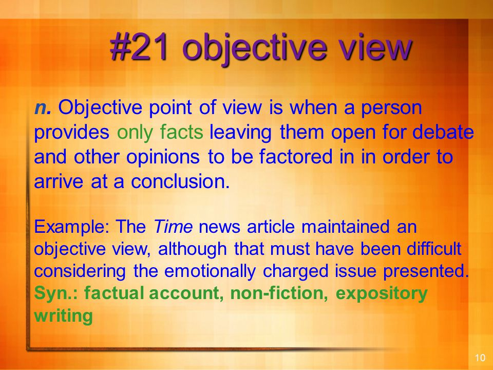 10 #21 objective view n.