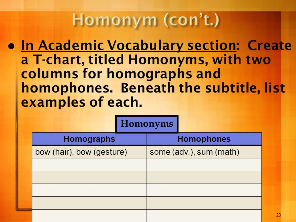 23 In Academic Vocabulary section: Create a T-chart, titled Homonyms, with two columns for homographs and homophones. Beneath the subtitle, list examp
