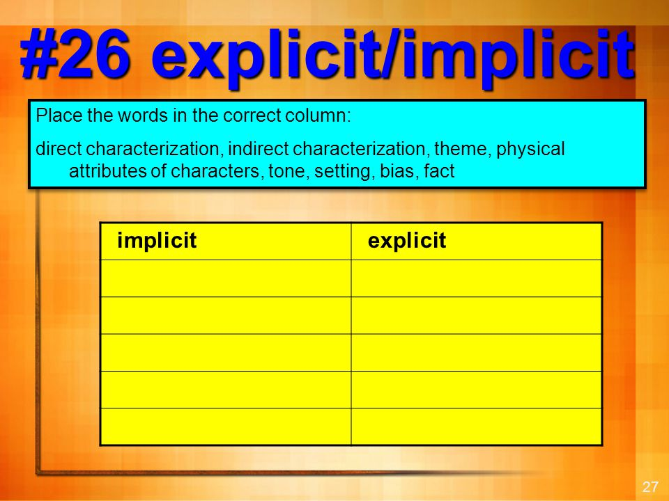 27 #26 explicit/implicit Place the words in the correct column: direct characterization, indirect characterization, theme, physical attributes of char