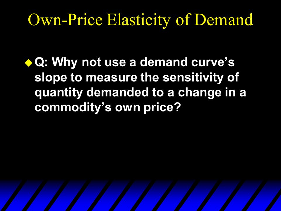 Own-Price Elasticity of Demand  Q: Why not use a demand curve's slope to measure the sensitivity of quantity demanded to a change in a commodity's own price