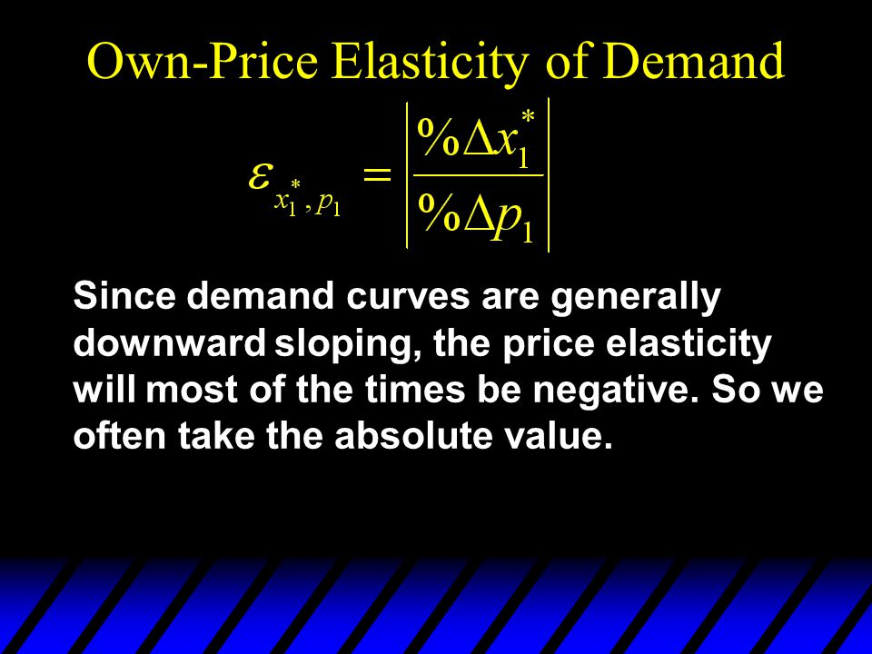 Own-Price Elasticity of Demand Since demand curves are generally downward sloping, the price elasticity will most of the times be negative.