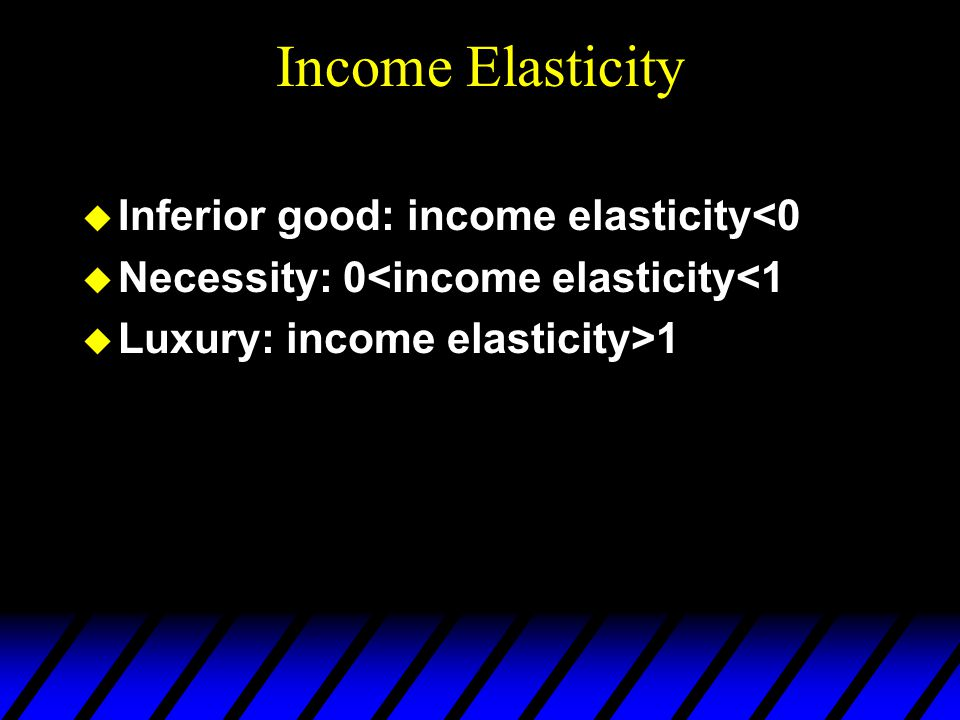 Income Elasticity  Inferior good: income elasticity<0  Necessity: 0<income elasticity<1  Luxury: income elasticity>1