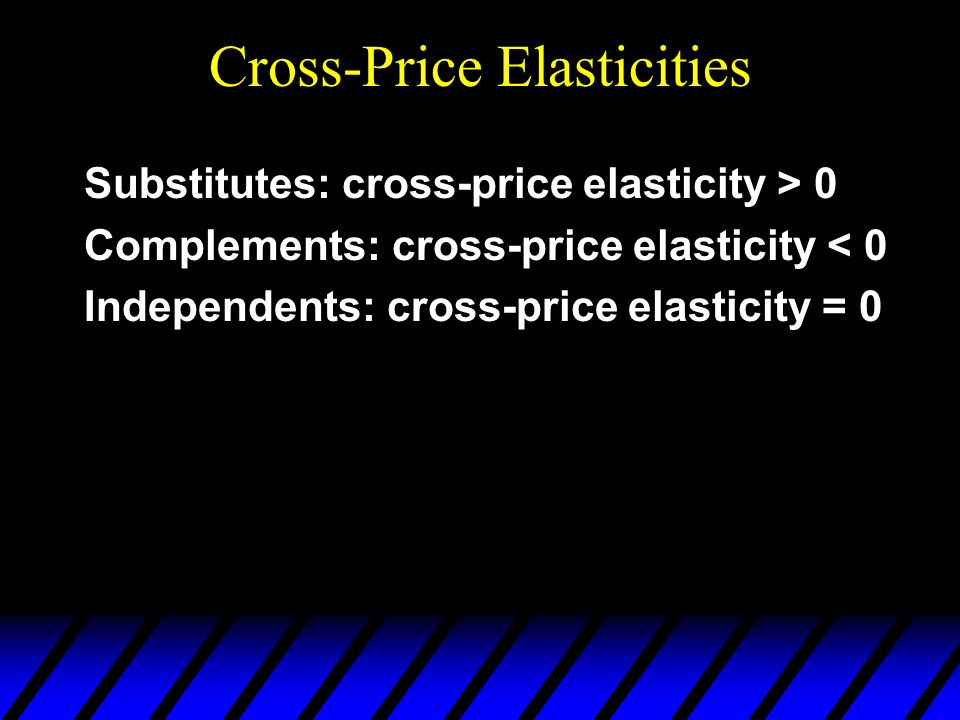 Cross-Price Elasticities Substitutes: cross-price elasticity > 0 Complements: cross-price elasticity < 0 Independents: cross-price elasticity = 0