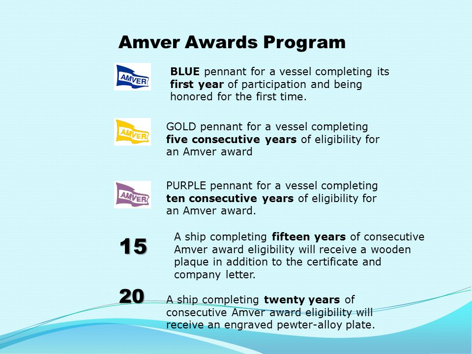 Amver Awards Program 15 20 BLUE pennant for a vessel completing its first year of participation and being honored for the first time.