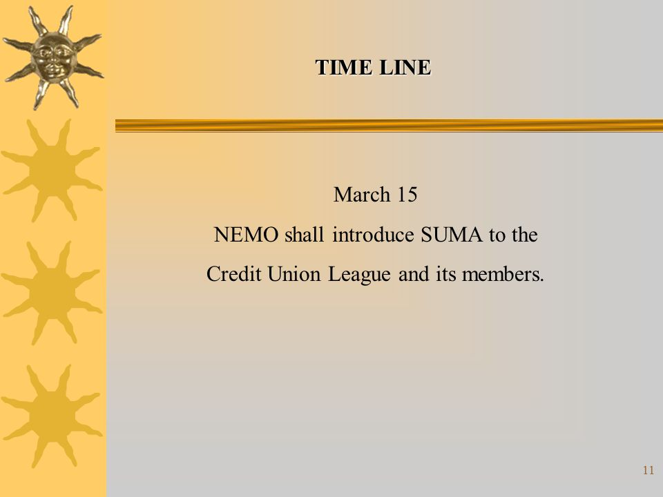 11 March 15 NEMO shall introduce SUMA to the Credit Union League and its members. TIME LINE