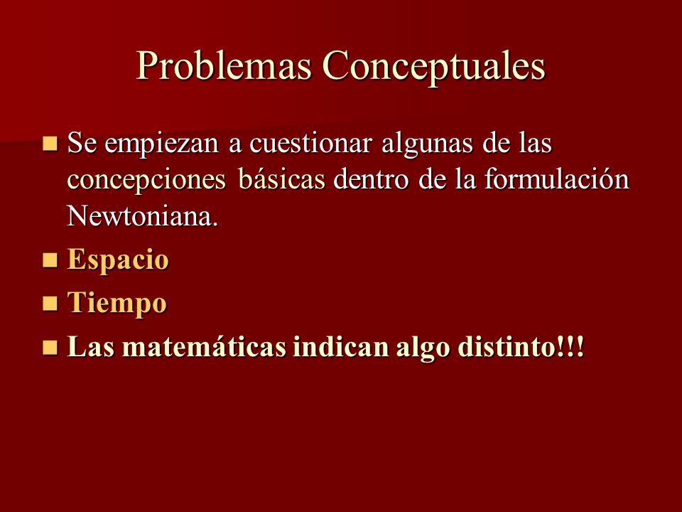 Problemas Conceptuales Se empiezan a cuestionar algunas de las concepciones básicas dentro de la formulación Newtoniana.