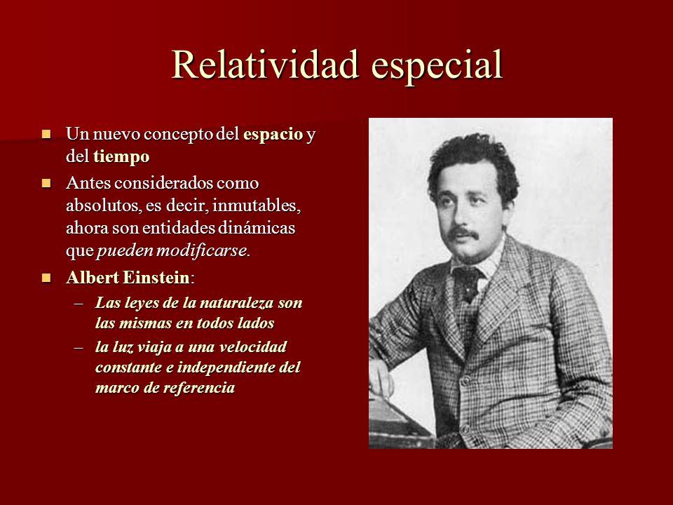 Relatividad especial Un nuevo concepto del espacio y del tiempo Un nuevo concepto del espacio y del tiempo Antes considerados como absolutos, es decir, inmutables, ahora son entidades dinámicas que pueden modificarse.