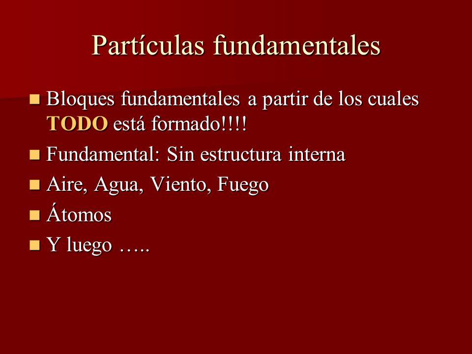Partículas fundamentales Bloques fundamentales a partir de los cuales TODO está formado!!!.