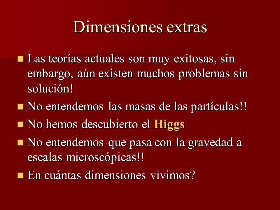 Dimensiones extras Las teorías actuales son muy exitosas, sin embargo, aún existen muchos problemas sin solución.