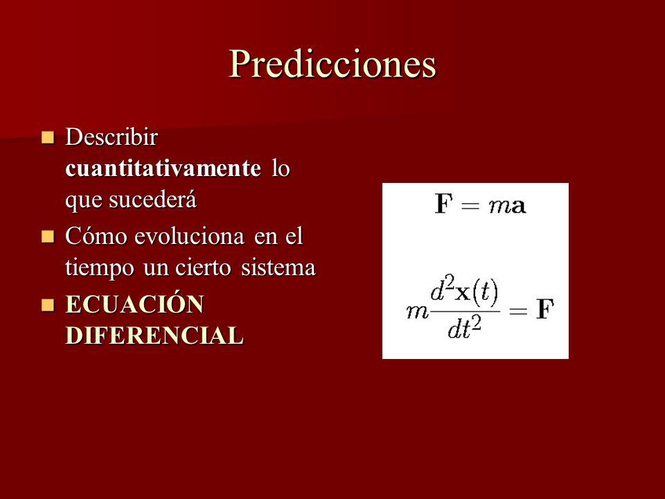 Predicciones Describir cuantitativamente lo que sucederá Describir cuantitativamente lo que sucederá Cómo evoluciona en el tiempo un cierto sistema Cómo evoluciona en el tiempo un cierto sistema ECUACIÓN DIFERENCIAL ECUACIÓN DIFERENCIAL