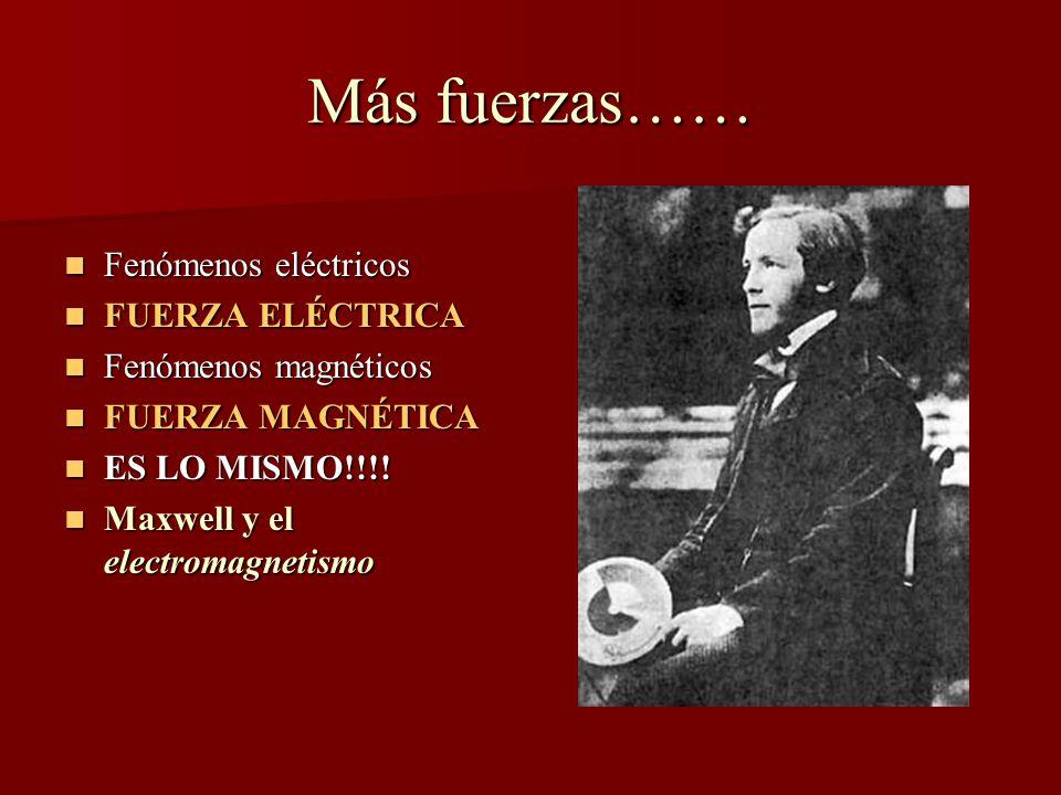 Más fuerzas…… Fenómenos eléctricos Fenómenos eléctricos FUERZA ELÉCTRICA FUERZA ELÉCTRICA Fenómenos magnéticos Fenómenos magnéticos FUERZA MAGNÉTICA FUERZA MAGNÉTICA ES LO MISMO!!!.