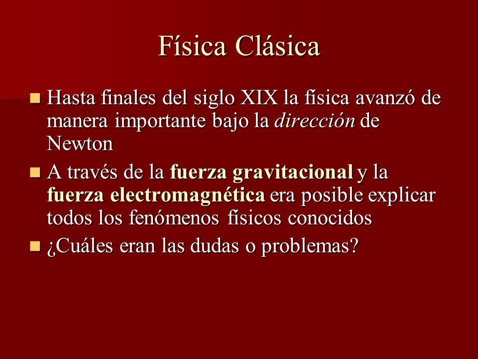 Problemas con la Física Clásica Problemas experimentales Problemas experimentales Problemas conceptuales Problemas conceptuales