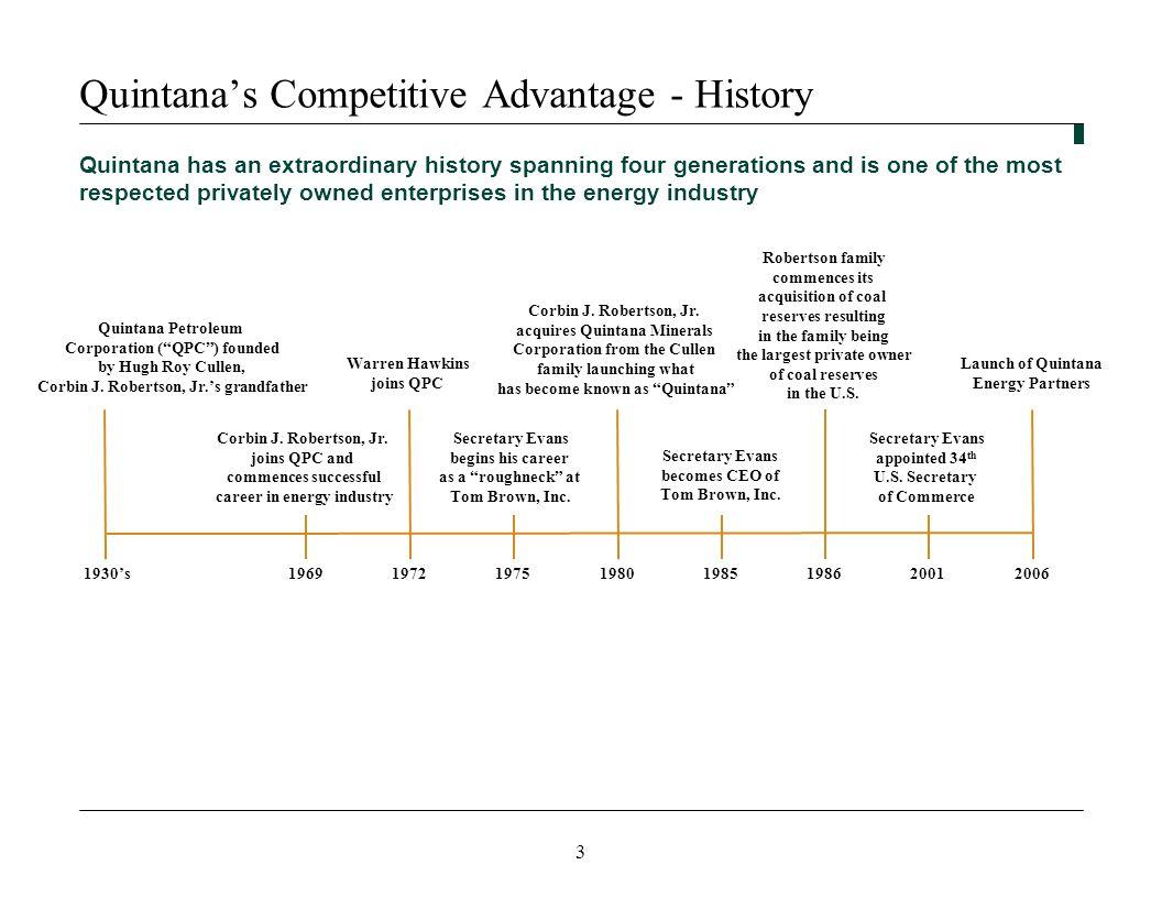 3 Quintana's Competitive Advantage - History Quintana Petroleum Corporation ( QPC ) founded by Hugh Roy Cullen, Corbin J.