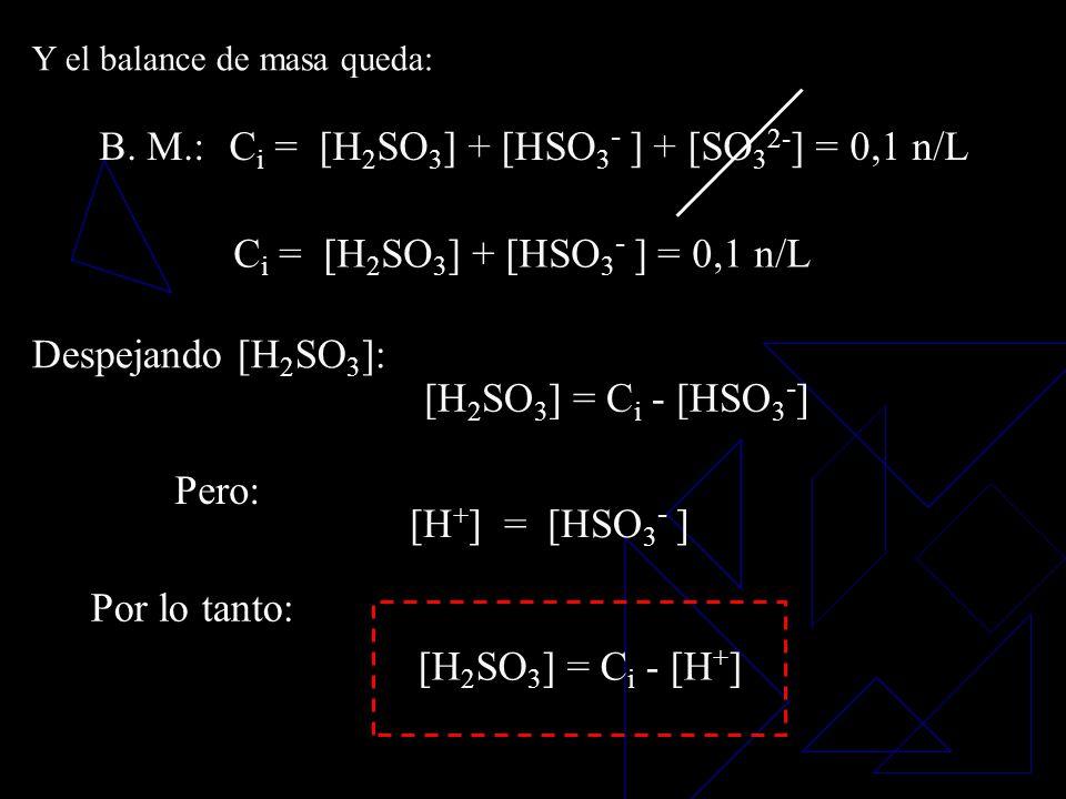 B. M.:C i = [H 2 SO 3 ] + [HSO 3 - ] + [SO 3 2- ] = 0,1 n/L B. C.:[H + ] = [HSO 3 - ] + 2 [SO 3 2- ] + [OH - ] Donde: 1ª aproximación: [H + ] >>> [OH