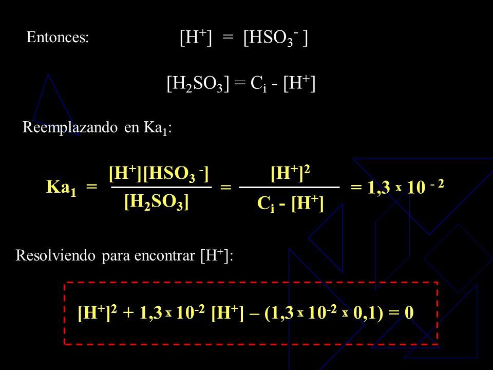 Pero: Por lo tanto: [H 2 SO 3 ] = C i - [HSO 3 - ] Despejando [H 2 SO 3 ]: B. M.:C i = [H 2 SO 3 ] + [HSO 3 - ] + [SO 3 2- ] = 0,1 n/L Y el balance de