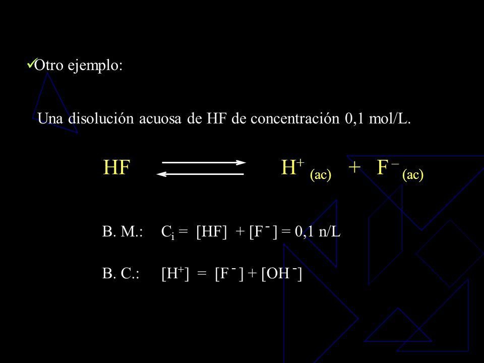 balance de masatodas las especies En el balance de masa se representan todas las especies solubles en disolución acuosa, excepto H + y OH -. solubles