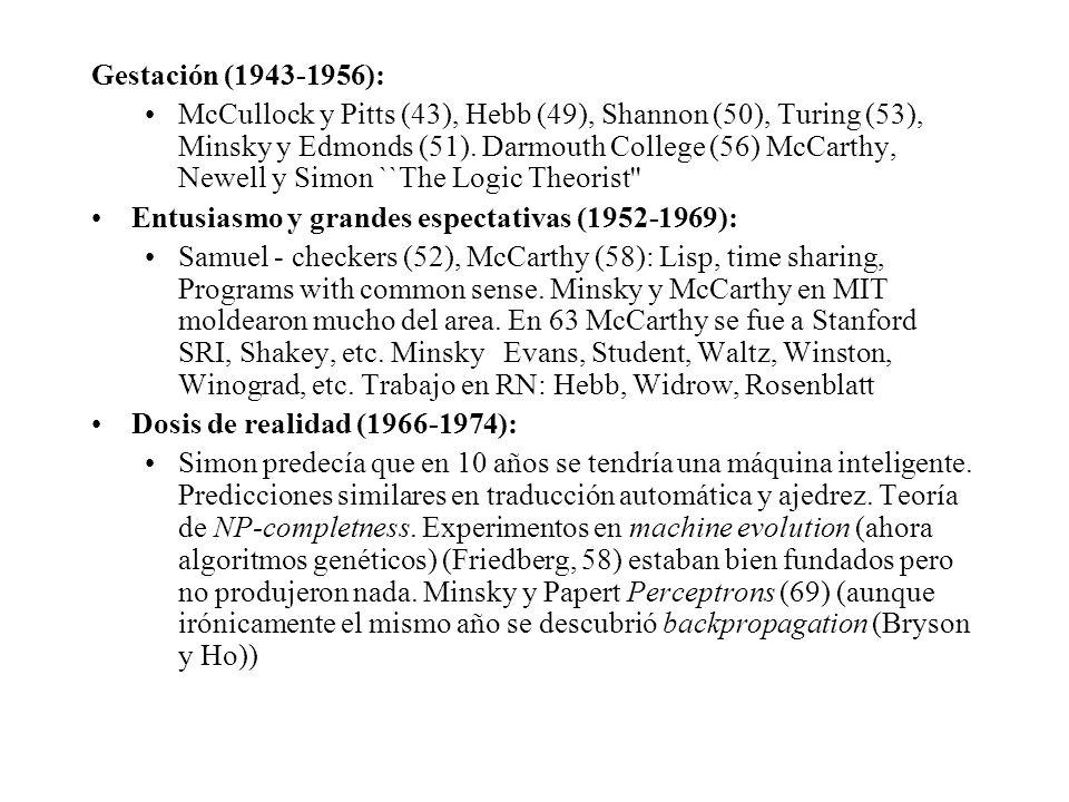 Gestación (1943-1956): McCullock y Pitts (43), Hebb (49), Shannon (50), Turing (53), Minsky y Edmonds (51).