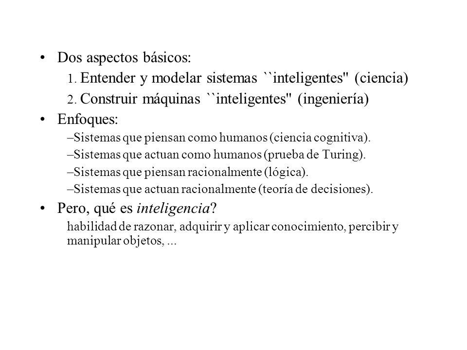 Dos aspectos básicos: 1. Entender y modelar sistemas ``inteligentes (ciencia) 2.