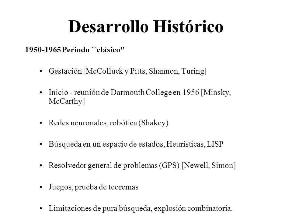 Desarrollo Histórico 1950-1965 Periodo ``clásico Gestación [McColluck y Pitts, Shannon, Turing] Inicio - reunión de Darmouth College en 1956 [Minsky, McCarthy] Redes neuronales, robótica (Shakey) Búsqueda en un espacio de estados, Heurísticas, LISP Resolvedor general de problemas (GPS) [Newell, Simon] Juegos, prueba de teoremas Limitaciones de pura búsqueda, explosión combinatoria.
