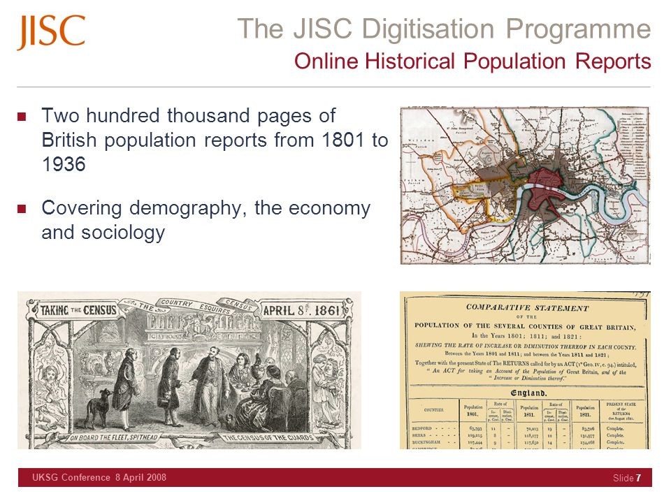 The JISC Digitisation Programme UKSG Conference 8 April 2008 Slide 28 First World War Poetry Digital Archive Will contain the poetry of five British poets of the Great War, Edward Thomas, Robert Graves, Vera Brittain, Isaac Rosenberg and Roland Leighton Contextualising the archive will be over two hundred images, audio and video clips from the Great War University of Oxford