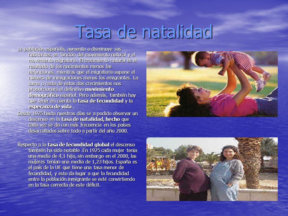 Tasa de natalidad La población española, aumenta o disminuye sus habitantes, en función del movimiento natural y el movimiento migratorio. El crecimie