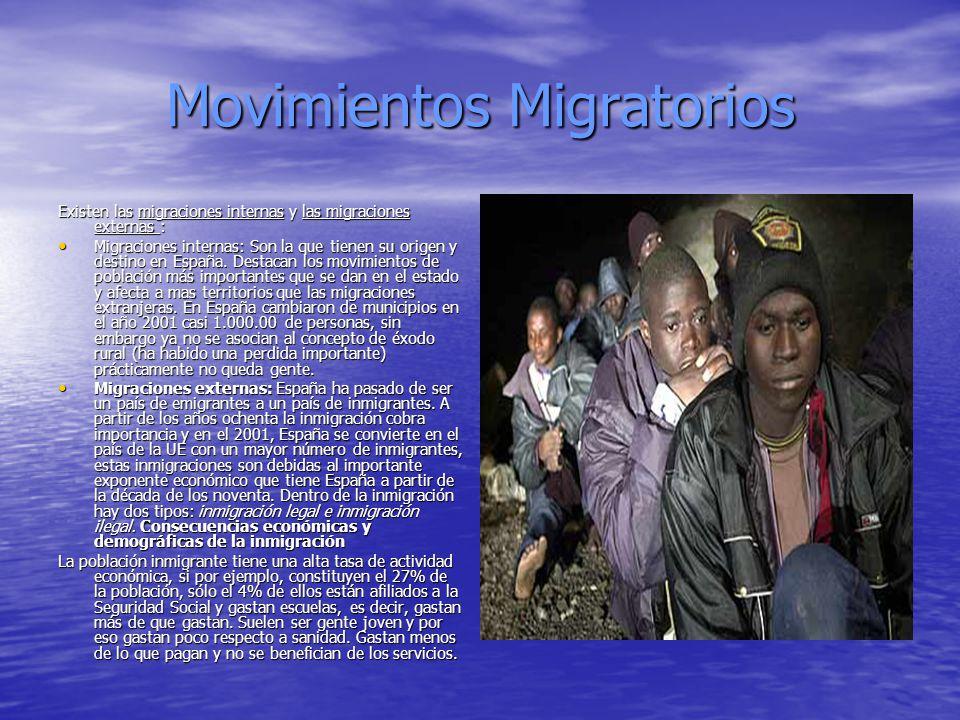 Movimientos Migratorios Existen las migraciones internas y las migraciones externas : Migraciones internas: Son la que tienen su origen y destino en E
