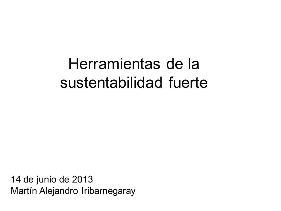 Herramientas de la sustentabilidad fuerte 14 de junio de 2013 Martín Alejandro Iribarnegaray