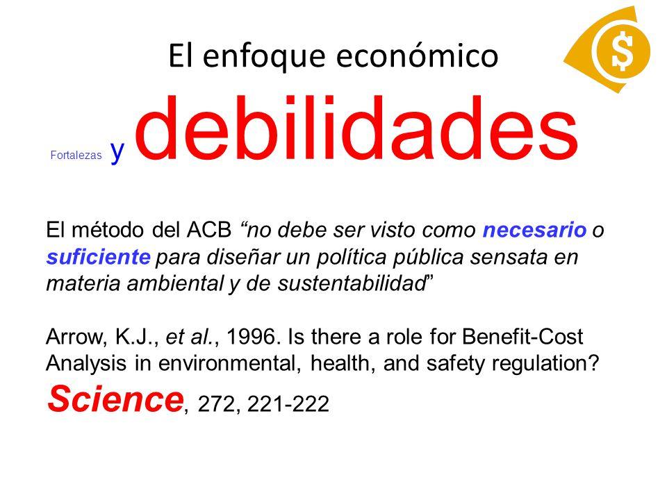 Fortalezas y debilidades El método del ACB no debe ser visto como necesario o suficiente para diseñar un política pública sensata en materia ambiental y de sustentabilidad Arrow, K.J., et al., 1996.