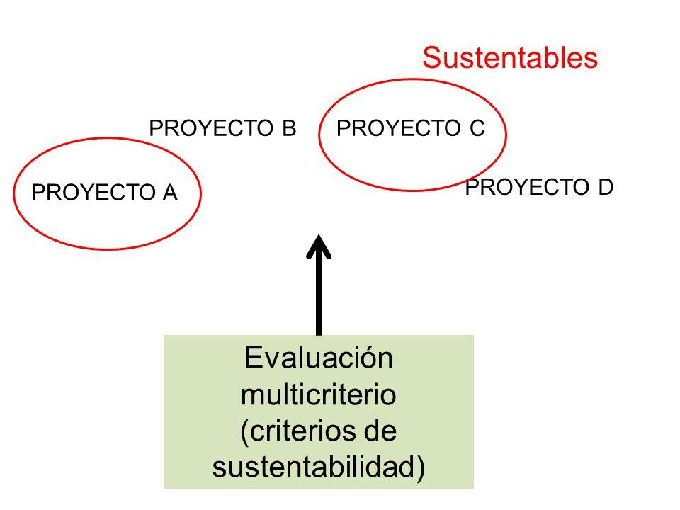 PROYECTO A PROYECTO BPROYECTO C PROYECTO D Evaluación multicriterio (criterios de sustentabilidad) Sustentables