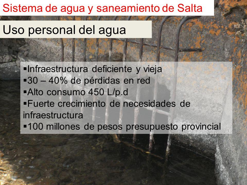 Sistema de agua y saneamiento de Salta  Infraestructura deficiente y vieja  30 – 40% de pérdidas en red  Alto consumo 450 L/p.d  Fuerte crecimiento de necesidades de infraestructura  100 millones de pesos presupuesto provincial Uso personal del agua