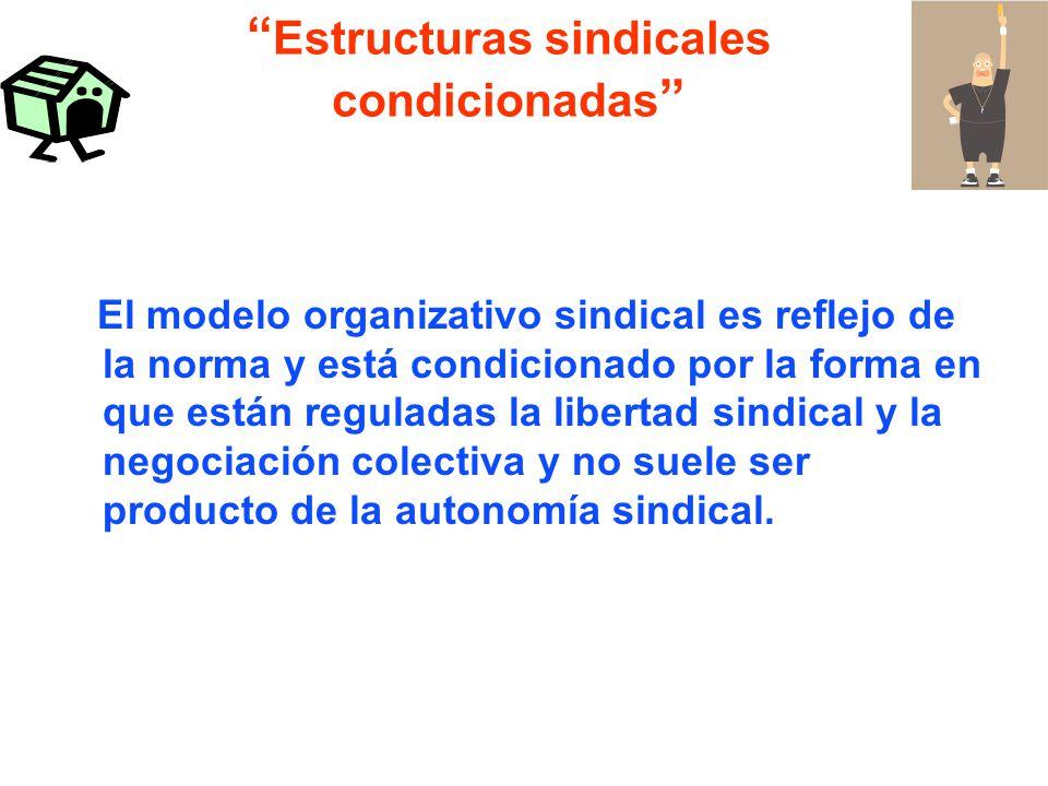 Estructuras sindicales condicionadas El modelo organizativo sindical es reflejo de la norma y está condicionado por la forma en que están reguladas la libertad sindical y la negociación colectiva y no suele ser producto de la autonomía sindical.