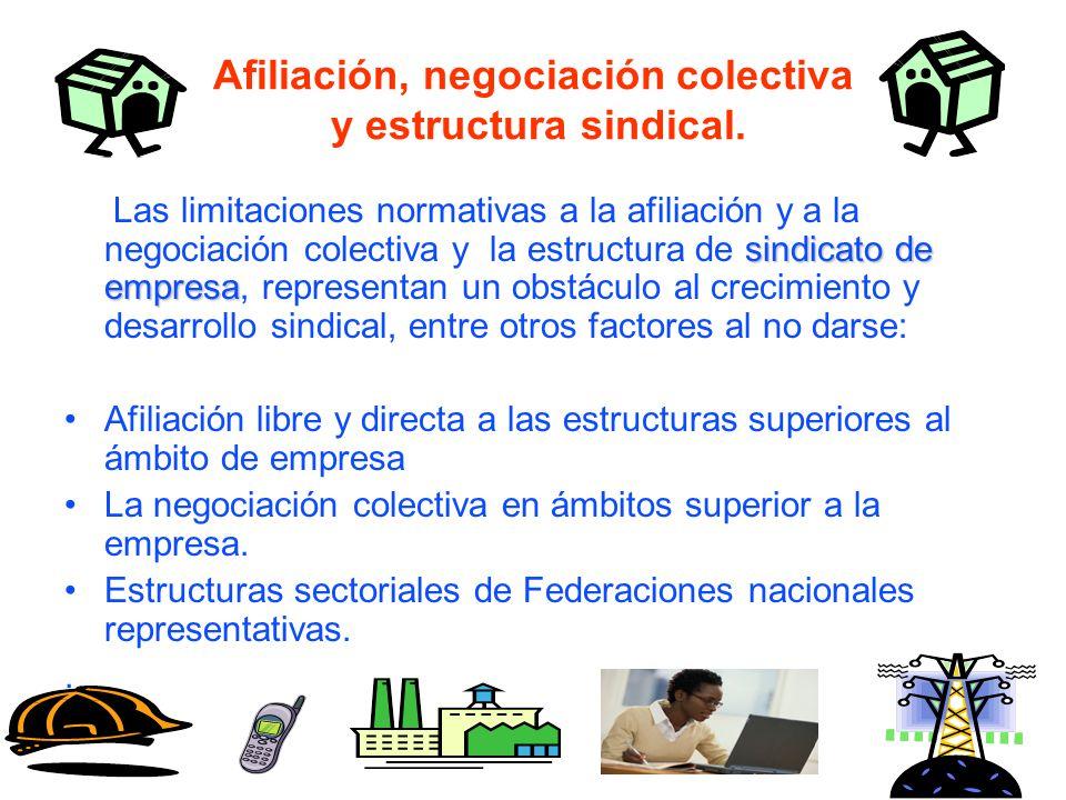 Afiliación, negociación colectiva y estructura sindical.