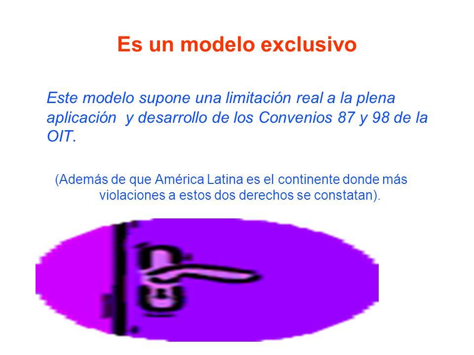 Es un modelo exclusivo Este modelo supone una limitación real a la plena aplicación y desarrollo de los Convenios 87 y 98 de la OIT.