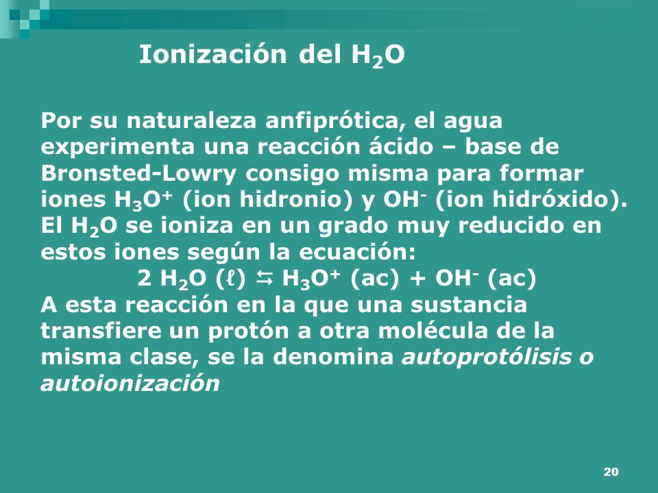 20 Ionización del H 2 O Por su naturaleza anfiprótica, el agua experimenta una reacción ácido – base de Bronsted-Lowry consigo misma para formar iones
