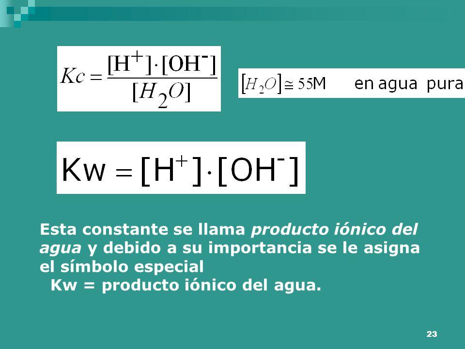 23 Esta constante se llama producto iónico del agua y debido a su importancia se le asigna el símbolo especial Kw = producto iónico del agua.