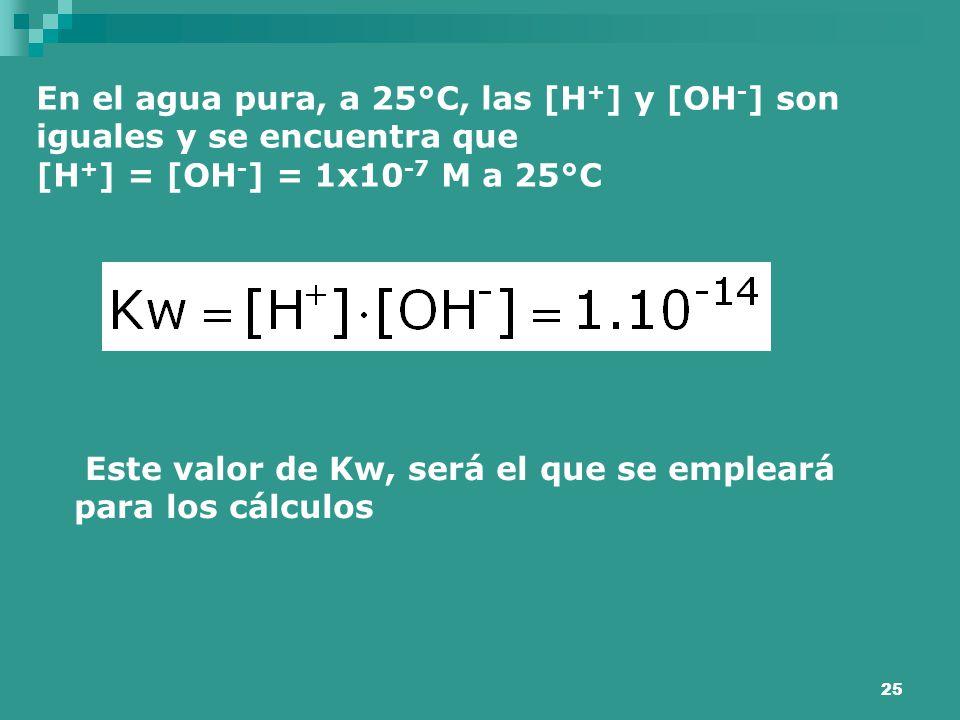 25 En el agua pura, a 25°C, las [H + ] y [OH - ] son iguales y se encuentra que [H + ] = [OH - ] = 1x10 -7 M a 25°C Este valor de Kw, será el que se e