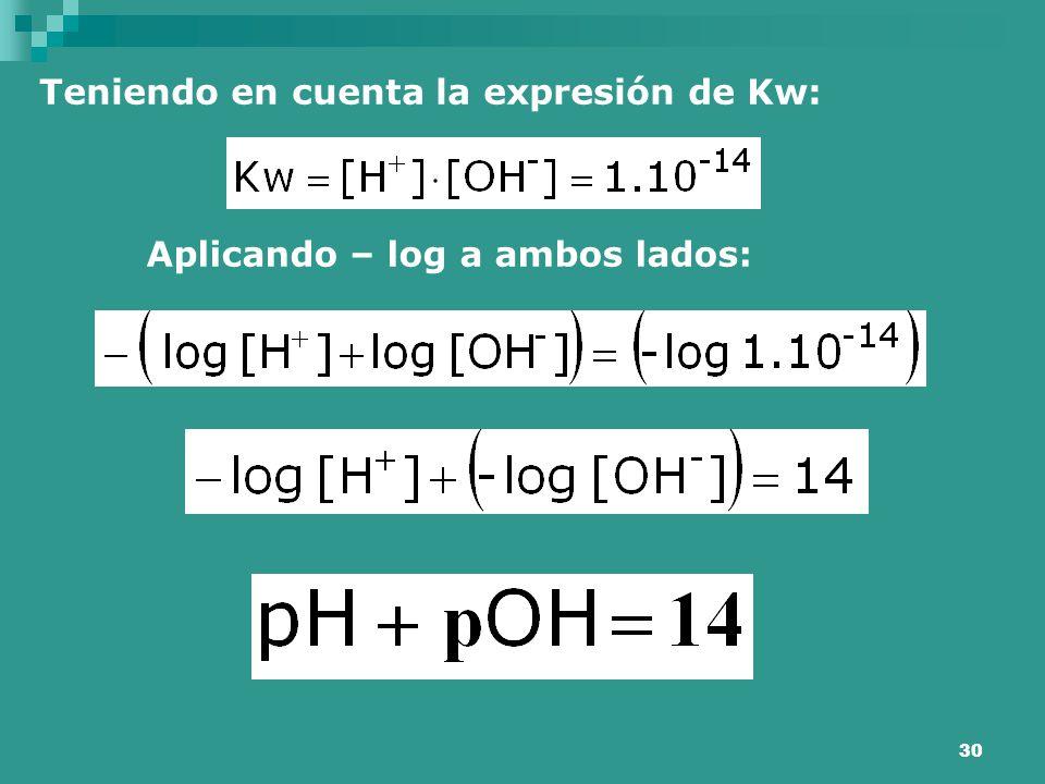 30 Teniendo en cuenta la expresión de Kw: Aplicando – log a ambos lados: