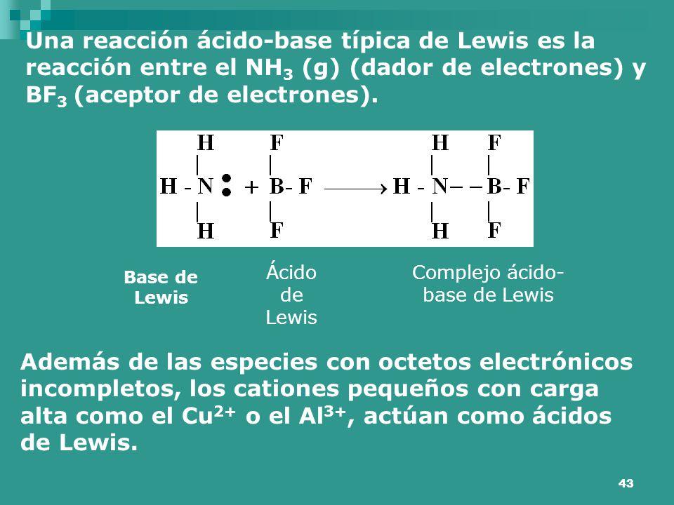 43 Una reacción ácido-base típica de Lewis es la reacción entre el NH 3 (g) (dador de electrones) y BF 3 (aceptor de electrones). Base de Lewis Ácido