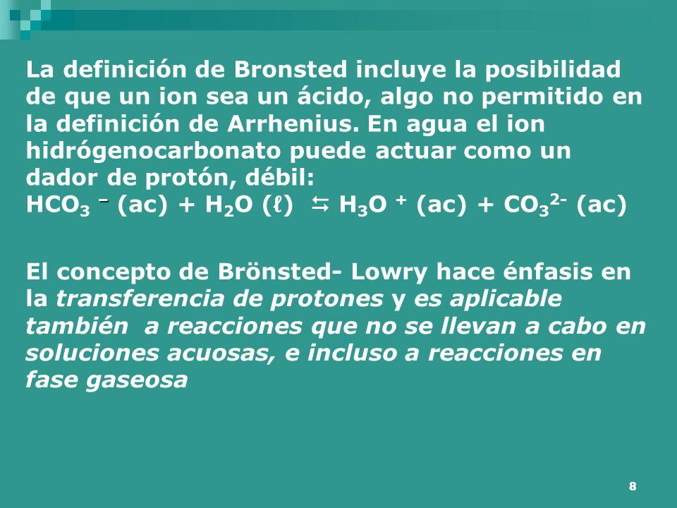 8 La definición de Bronsted incluye la posibilidad de que un ion sea un ácido, algo no permitido en la definición de Arrhenius. En agua el ion hidróge