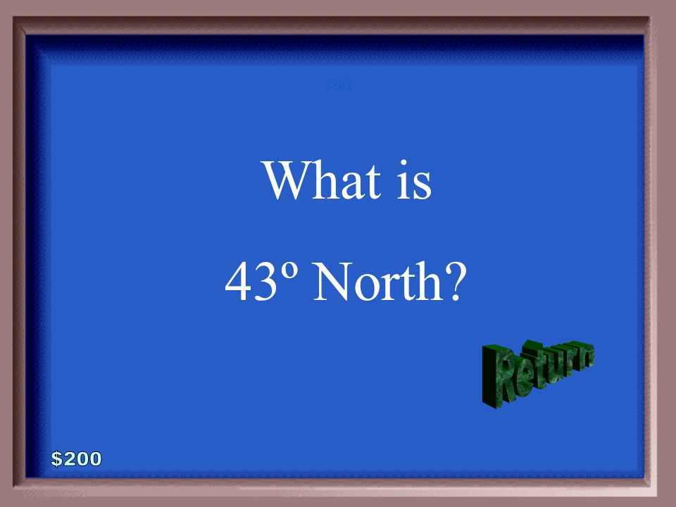 3-200 This is your latitude if you measure the altitude of Polaris to be 43º above the horizon.