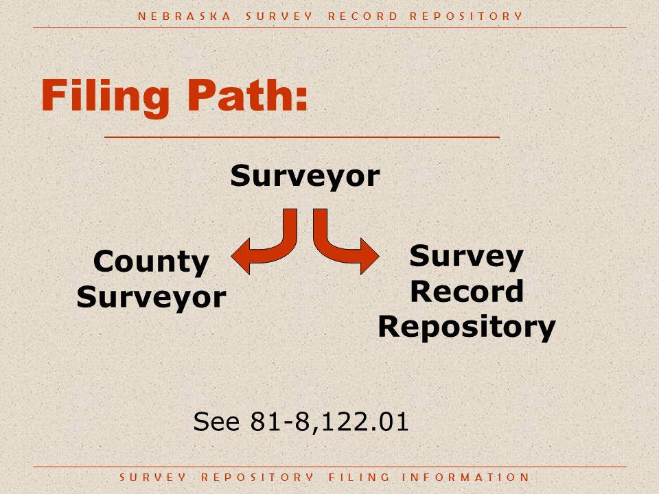 S U R V E Y R E P O S I T O R Y F I L I N G I N F O R M A T I O N Filing Path: Surveyor N E B R A S K A S U R V E Y R E C O R D R E P O S I T O R Y Survey Record Repository County Surveyor See 81-8,122.01