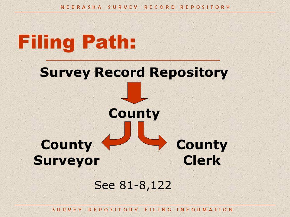 S U R V E Y R E P O S I T O R Y F I L I N G I N F O R M A T I O N Filing Path: Survey Record Repository N E B R A S K A S U R V E Y R E C O R D R E P O S I T O R Y County Clerk County Surveyor See 81-8,122 County